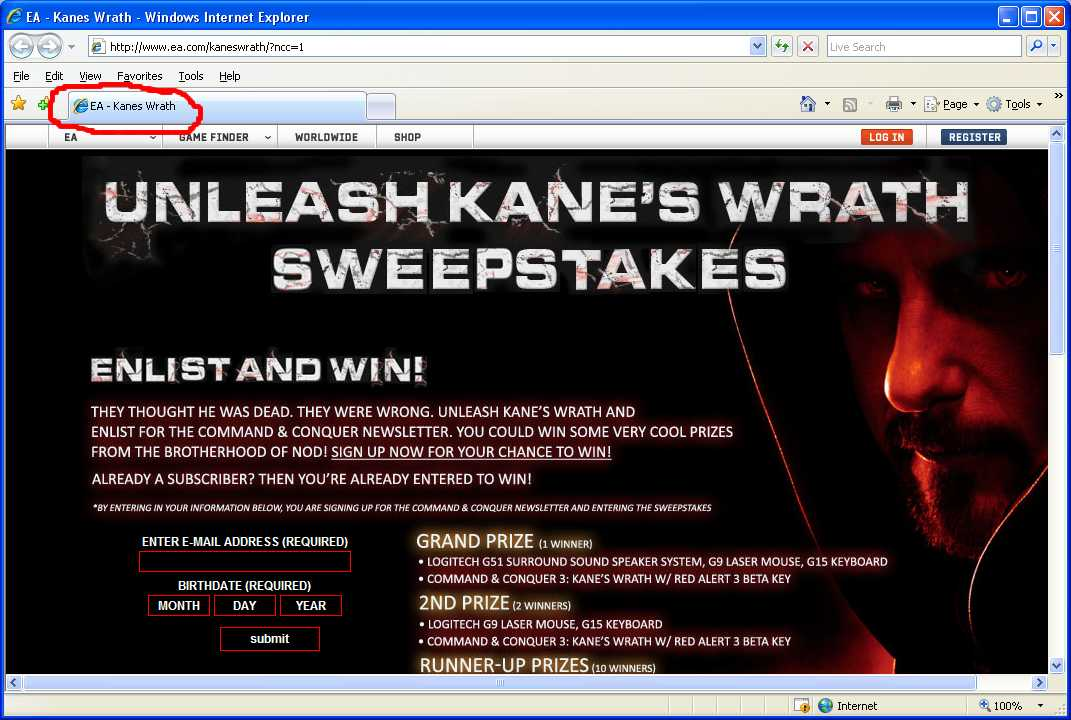 Kane's Wrath without the apostrophe
