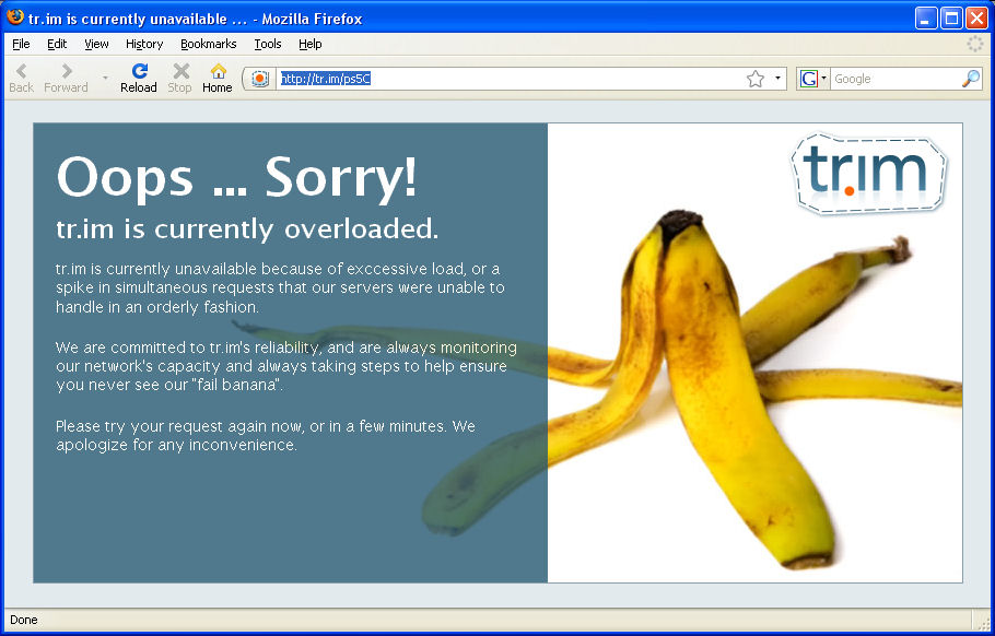 It's not a fail banana, it's an error page