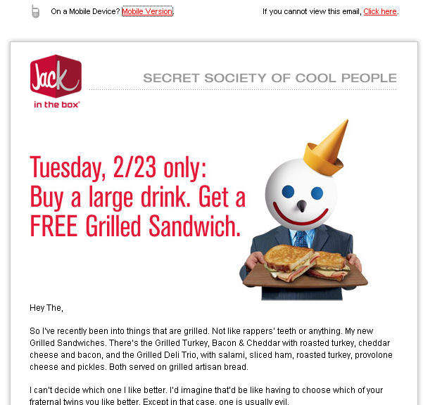 The Jack in the Box e-mail
