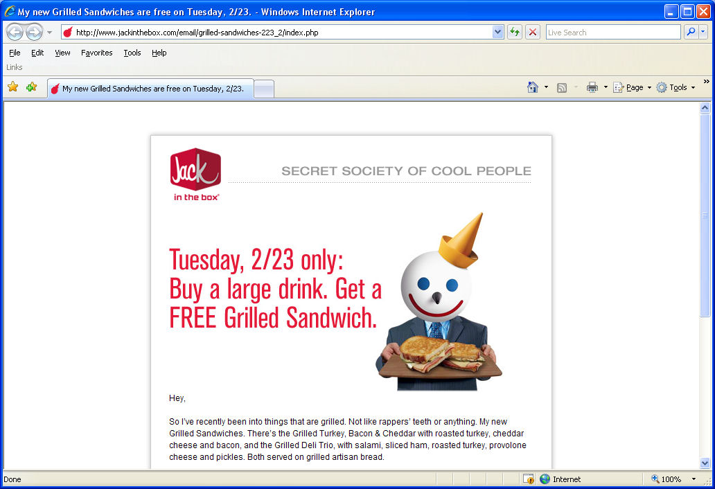 The Jack in the Box e-mail on the Web